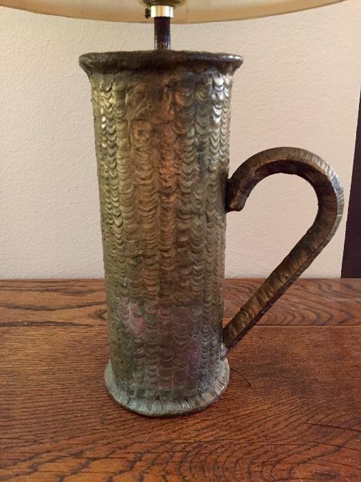 Antique Sculpted Brass Pitcher Turned into Lamp