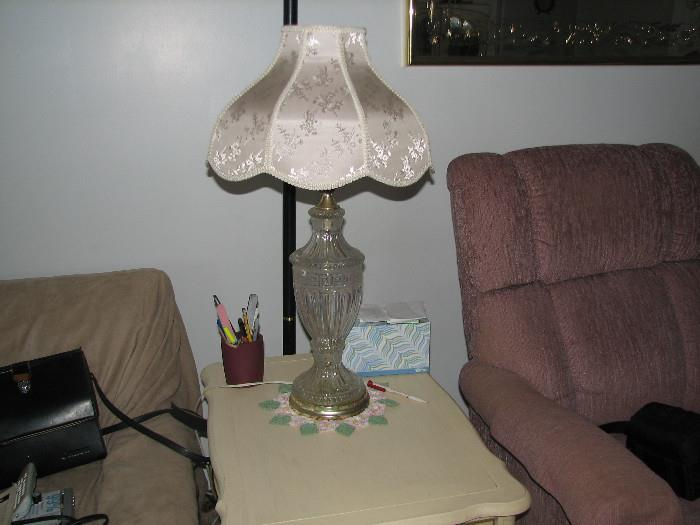 LAMP WITH SILK SHADE