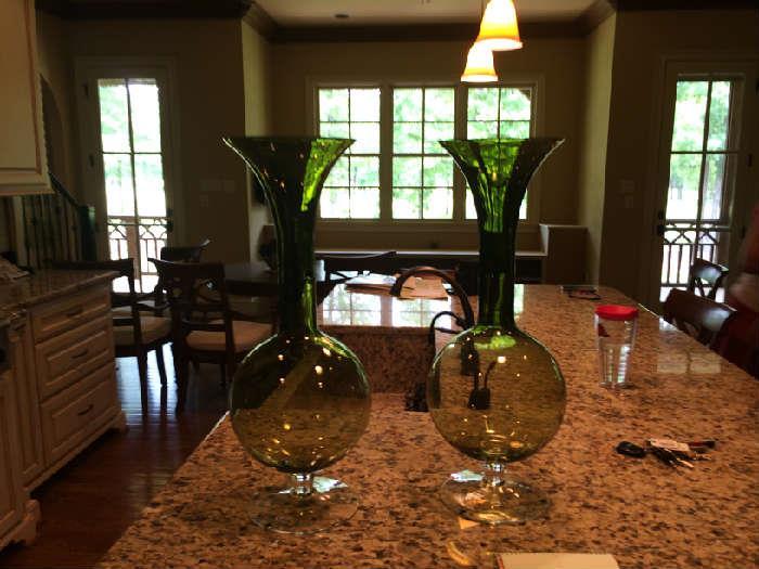 pair of green glass vases, 50.00 each