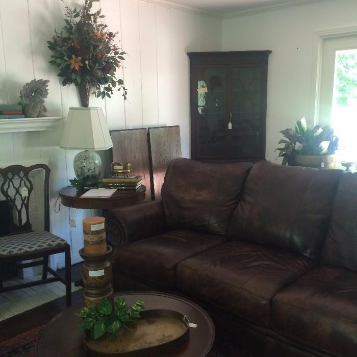 Brown leather sofa - very comfortable!