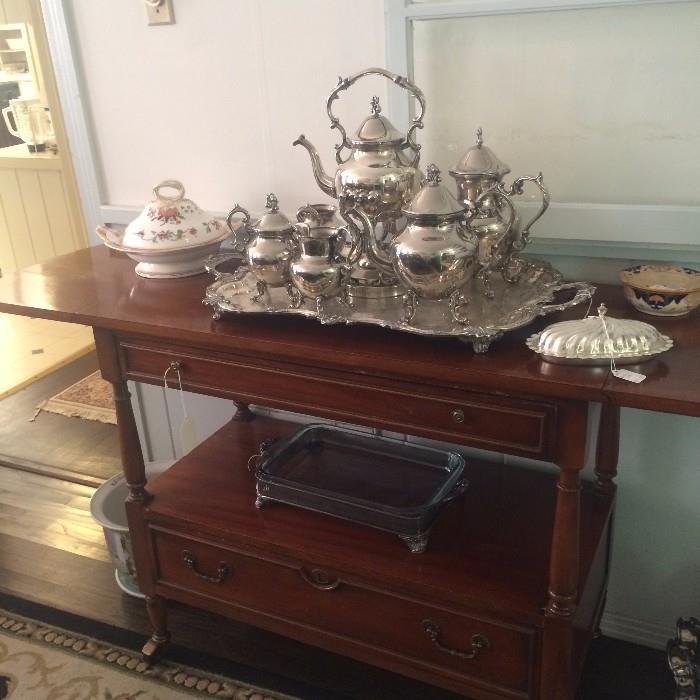 Fold-out server; silver-plate tea service