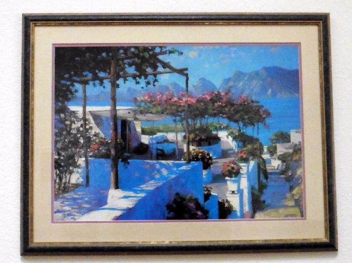 "Howard Behrens framed print. ""Patio in Ponzi"""