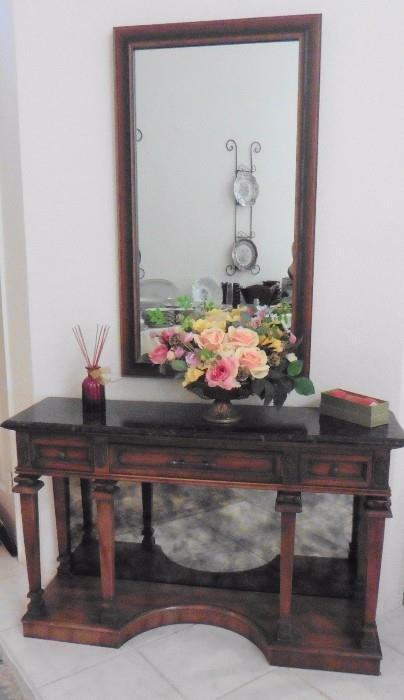 Entry or sofa table with mirrored back. Wall mirror
