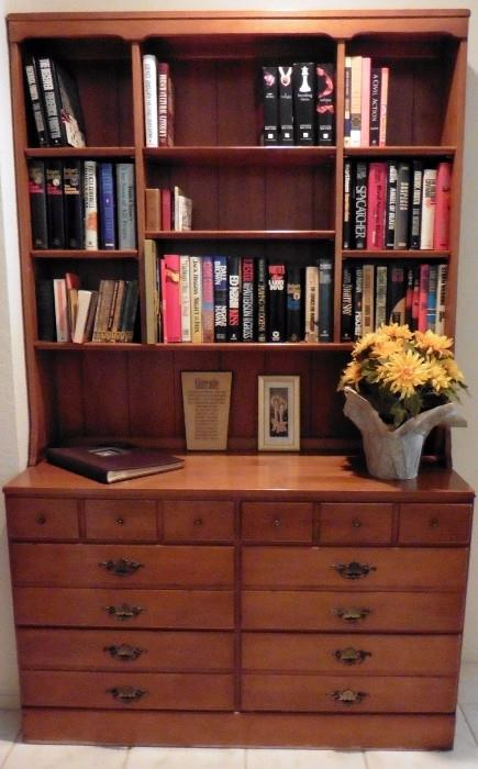 Maple bookcase on chest