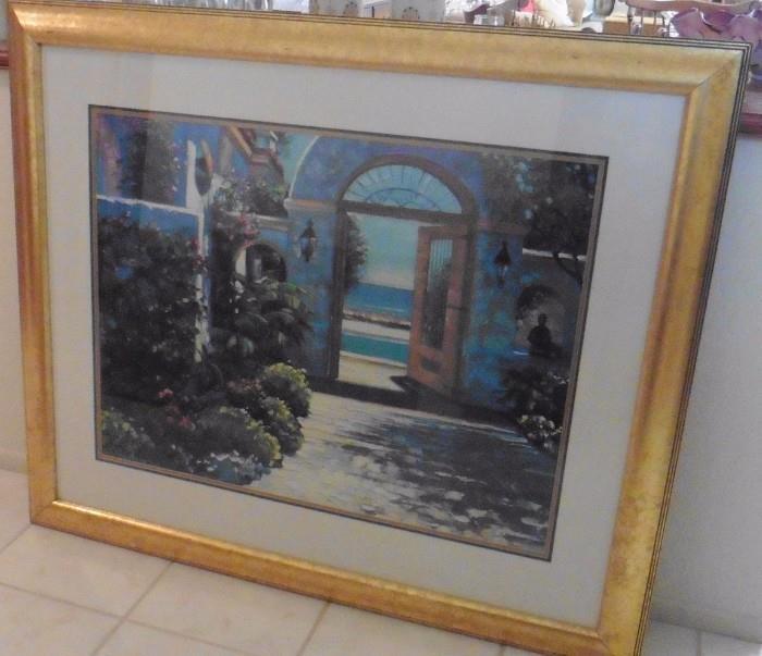 "Large Howard Behrens framed print. ""Hotel California"""