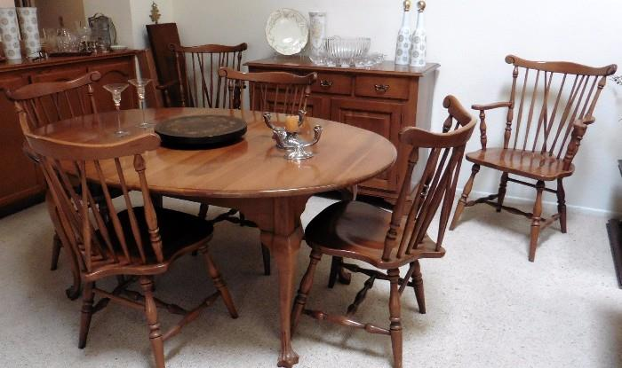 Benck Americana dining table with 6 chairs, leaf. Matching buffet. Heisey crystal punch bowl set
