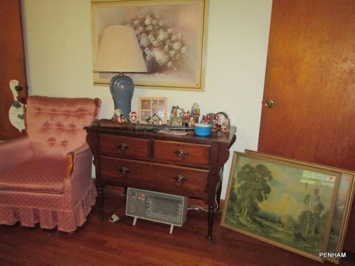 Chair & pictures 60% off; cabinet sold