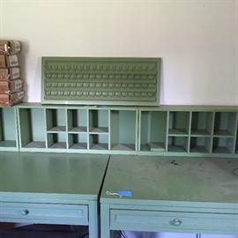 Double desk with cubbies