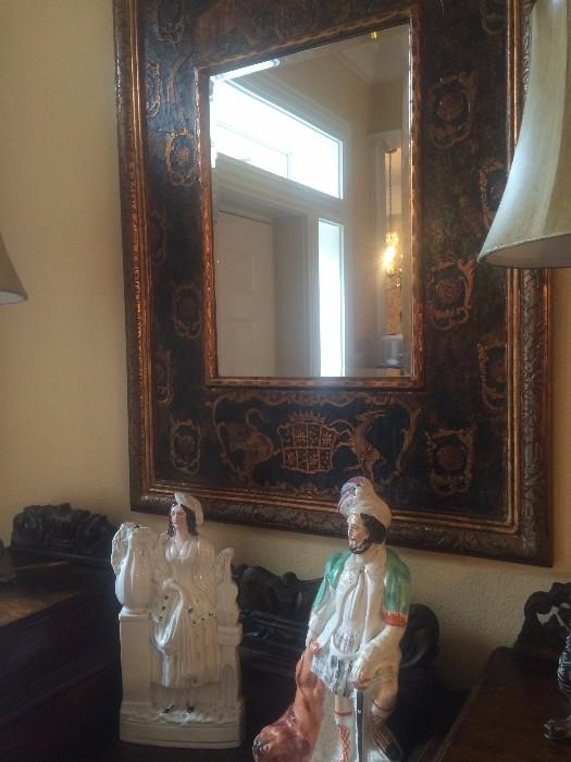 Staffordshire figurines; stunning black framed mirror