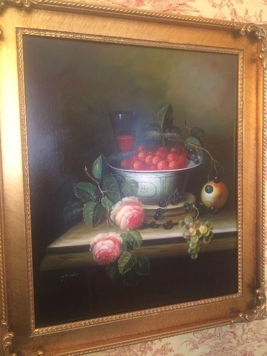 Framed art featuring fruit and flowers
