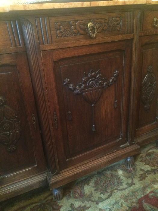 English oak buffet with fabulous carving