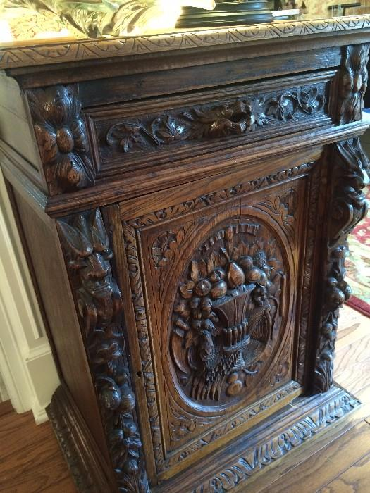 Exceptional and laborately carved antique server/cabinet