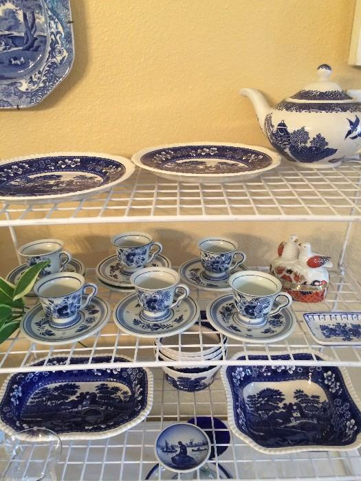 Spode transfer ware; Delft (from Holland) cups  & saucers