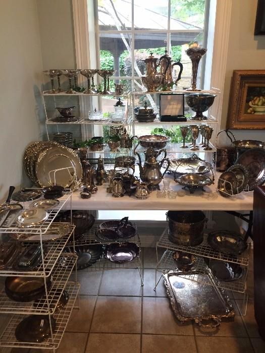 Fabulous selection of silver plate serving pieces