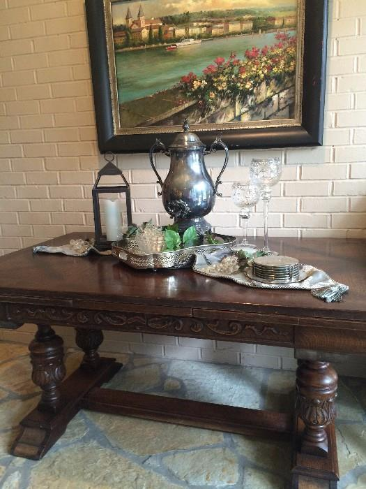 Striking antique library table