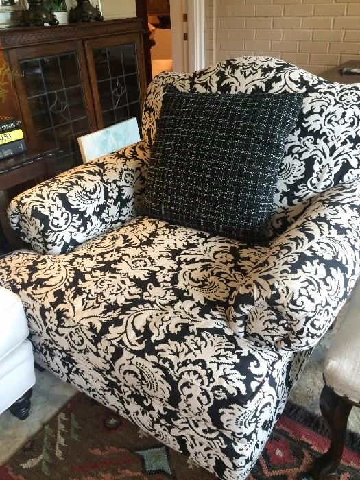 Black and white over-stuffed chair