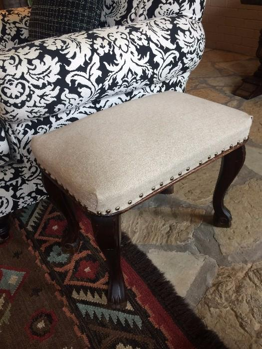 Small upholstered foot stool