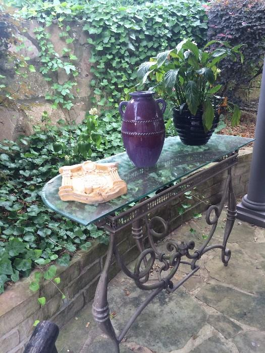 Demilune glass top patio table
