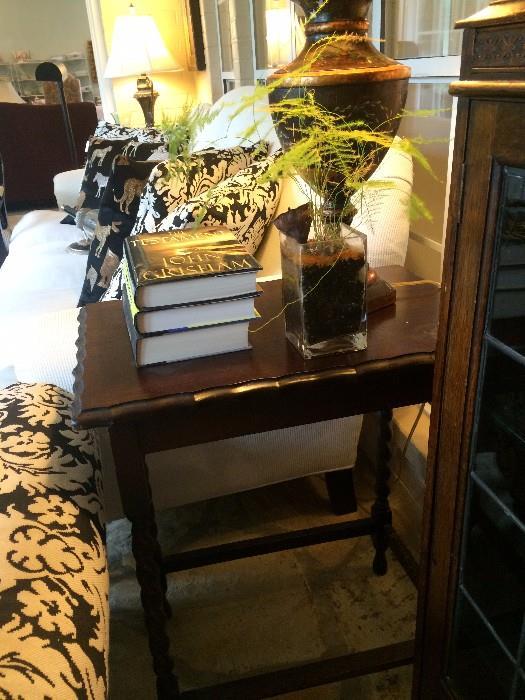 Antique rectangular end table