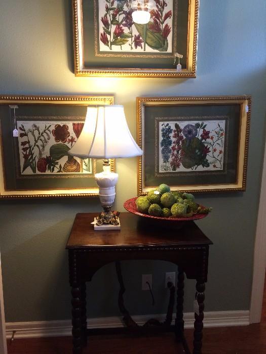 Framed botanical art; one of the many lamps