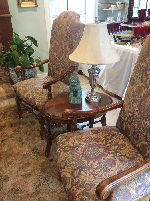 Antique arm chairs; small oval antique table