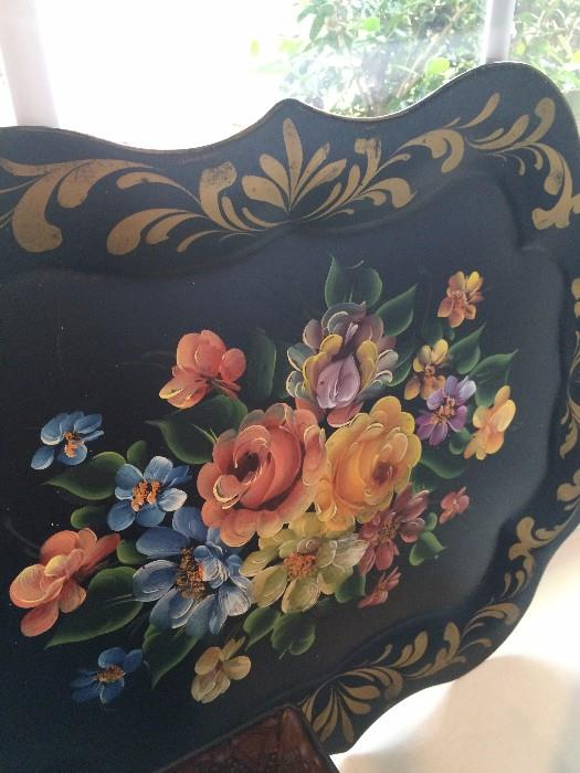 Large black metal hand painted (floral design) toleware  tray