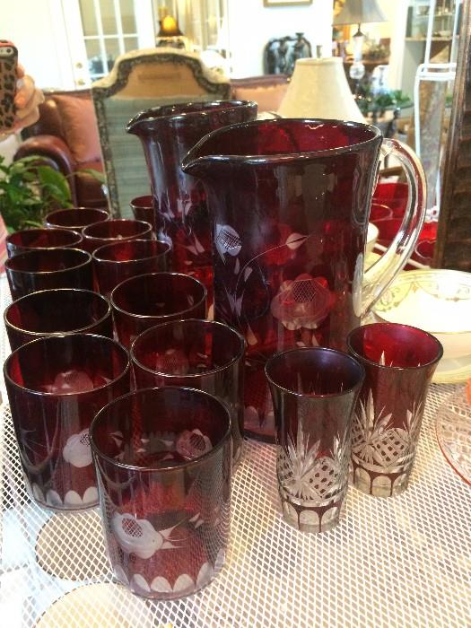 Red pitcher and glasses set