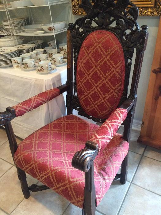 Ornate antique chair (as is)- needs repair