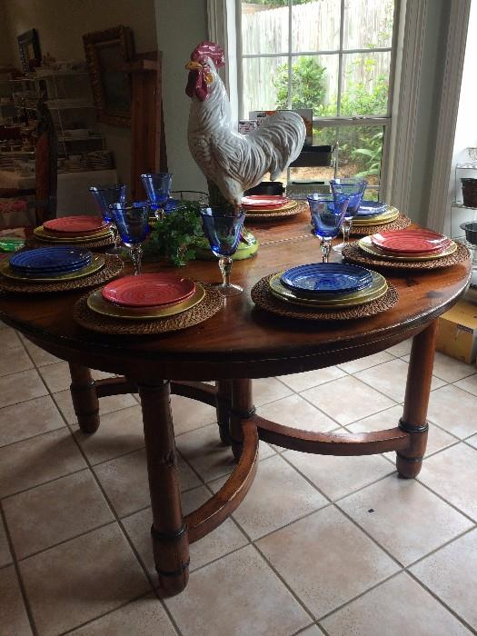 Round dining table (has 2 leaves); good-looking rooster