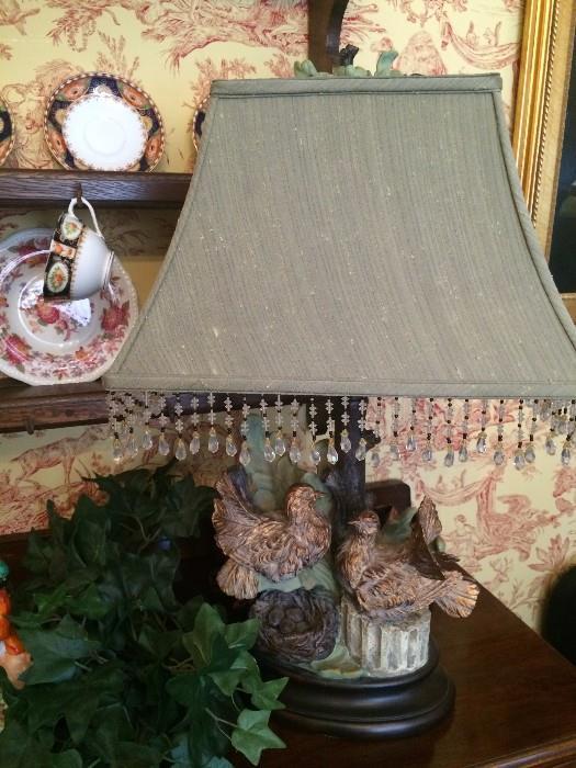 Love birds lamp with beaded shade