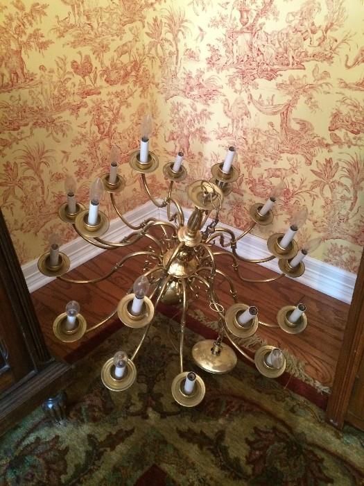Eighteen bulb brass candelier
