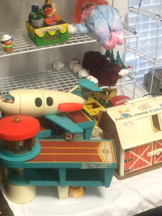 Vintage Fisher-Price airport and barn