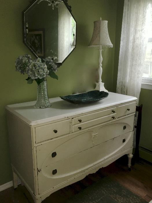 Antique dresser, mirrors, lamps