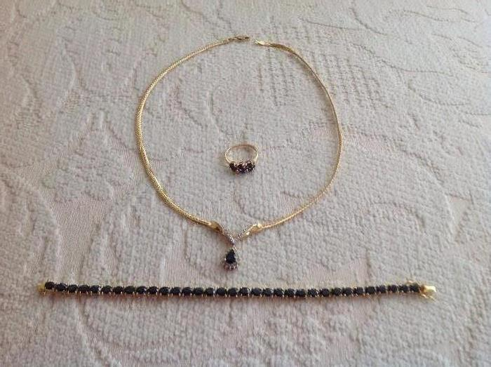14K YELLOW GOLD SAPPHIRE RING, NECKLACE AND BRACELET SET