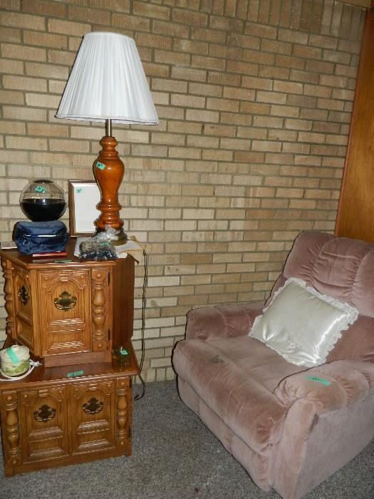 Recliner, Lamp, end tables