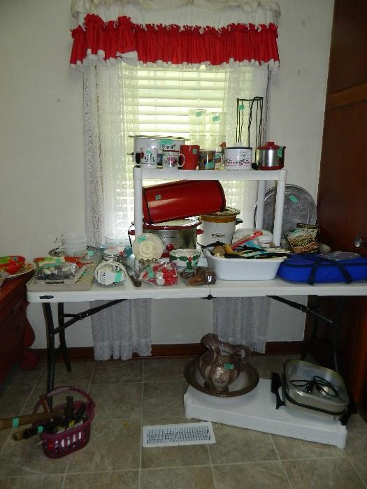 Miscellaneous kitchen items including crock pots - various sizes, bread box, electric skillet, casserole dish & cover - lots more!