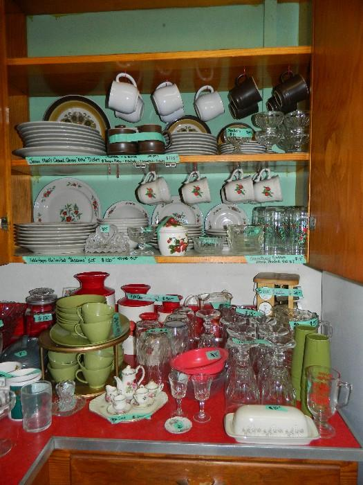 Complete set of Strawberry dishes, Vintage dishes from 1970's, Tupperware glasses, collectible child's tea set, Melmac green dishes, glass sets