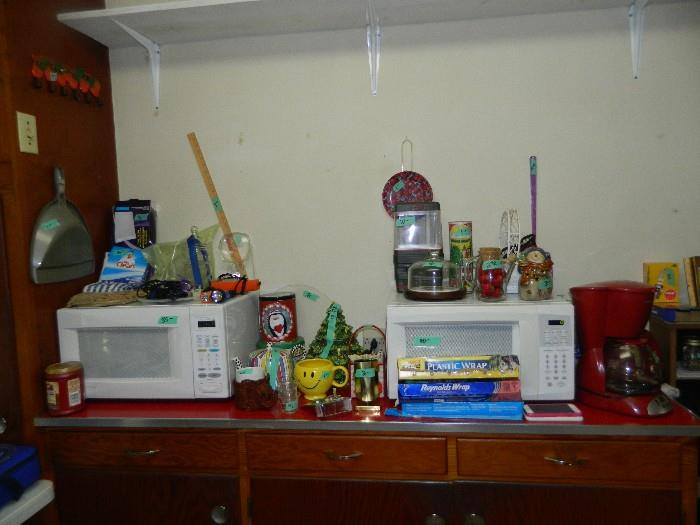 2 Microwaves - 1 new; miscellaneous kitchen items