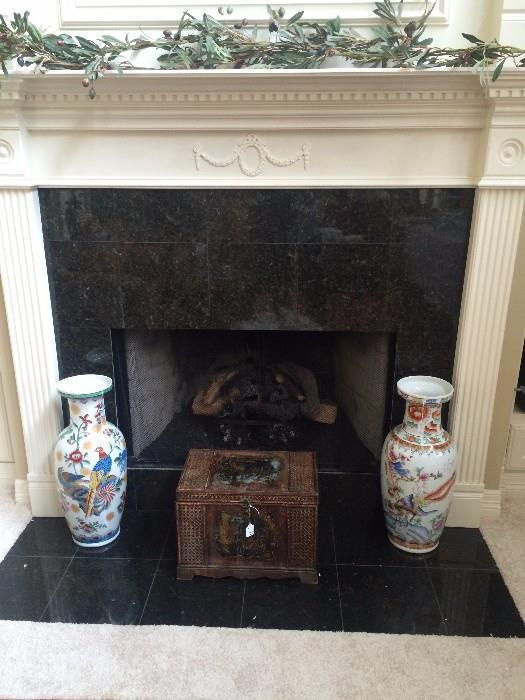Decorative urns and wooden box