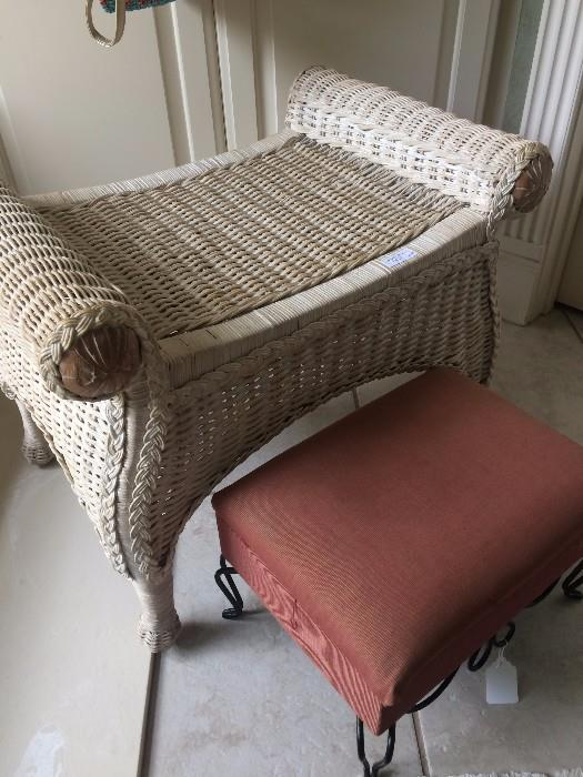 Vintage white wicker vanity bench; small foot stool