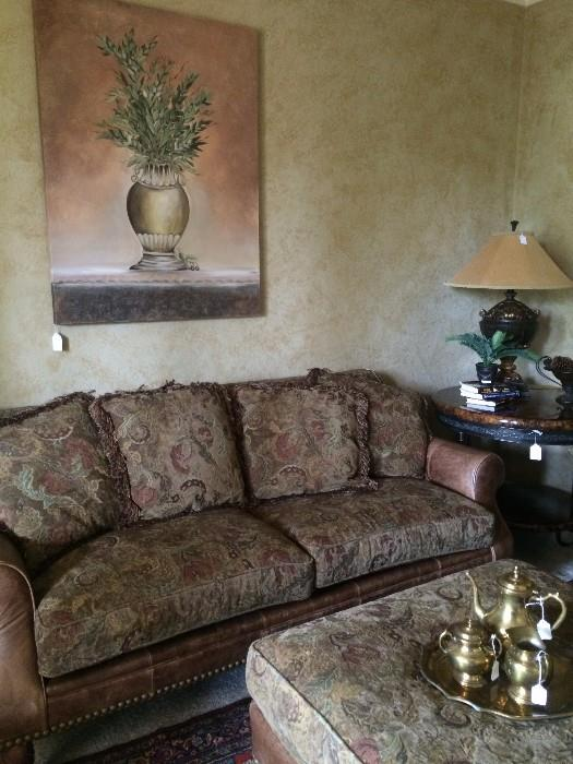 Like new sofa has matching over-sized chair & ottaman