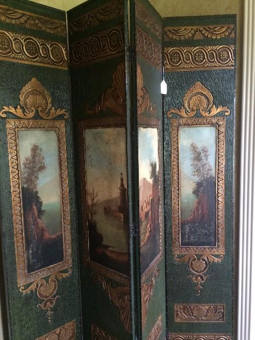 Excusite hand painted Italian 4-paneled screen
