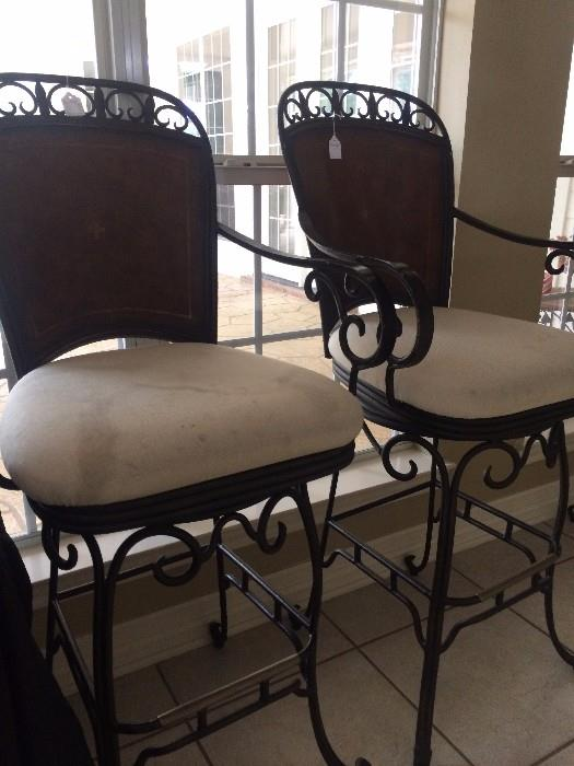 Two of four matching bar stools (seats need to be recovered)
