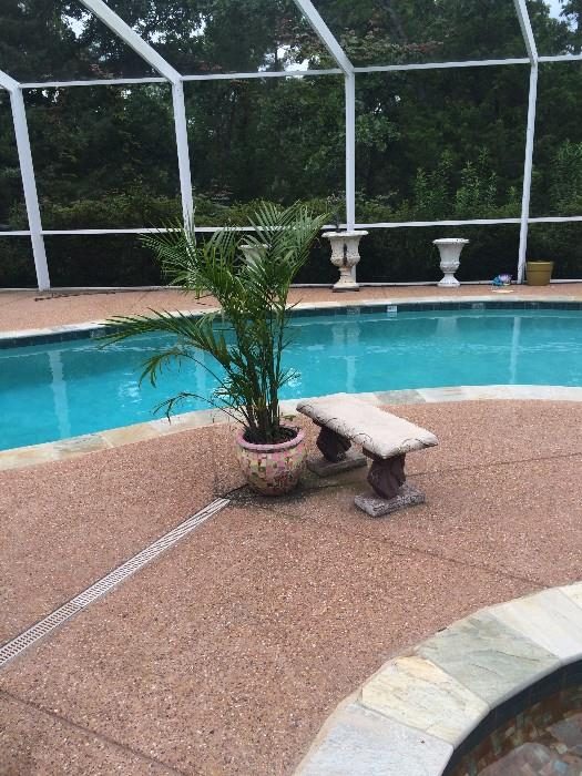 Several pieces of poolside seating/plants/urns