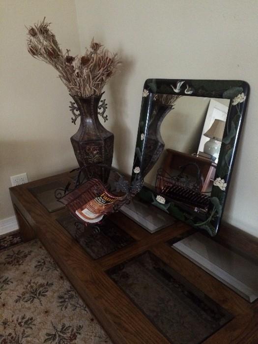 Large pecan/glass coffee table