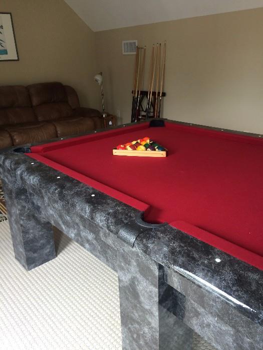 Harvard pool table; brown 3-cushion sofa
