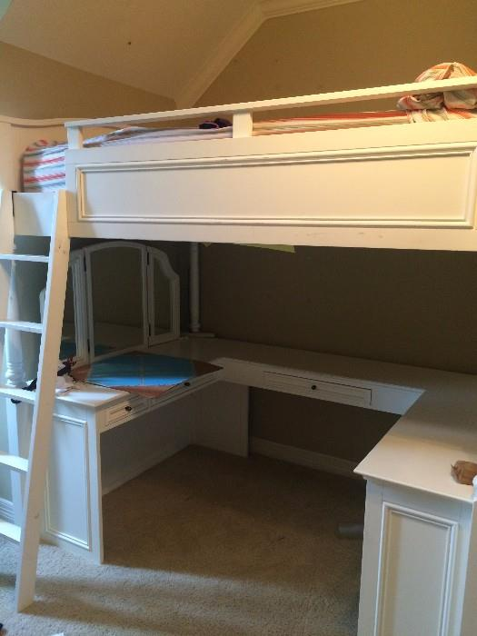 Pottery Barn loft bed unit- white wood with desk