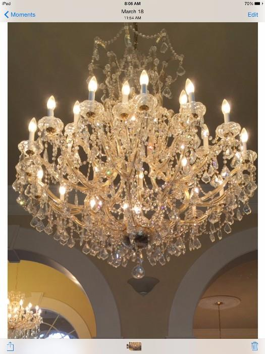 """One 26-light gold Maria Theresa (Italy) chandelier - approx. 41"""" x 41"""" with clear Swarovski spectra crystals"""
