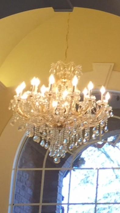 """One of two 2- light Maria Theresa (Italy) chandeliers -approx. 36"""" x 36"""""""