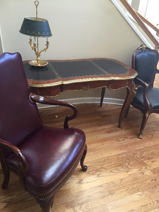 GORGEOUS LOUIS XV ORNATE BRASS MAHOGANY AND LEATHER  DESK AND CHAIR
